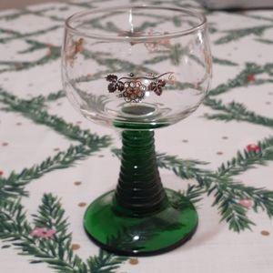 Vintage French Luminarc Green Stemmed Wine Sherry